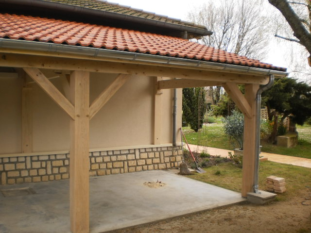 Appenti en sapin trait accol une maison ch teauroux for Construire appenti bois