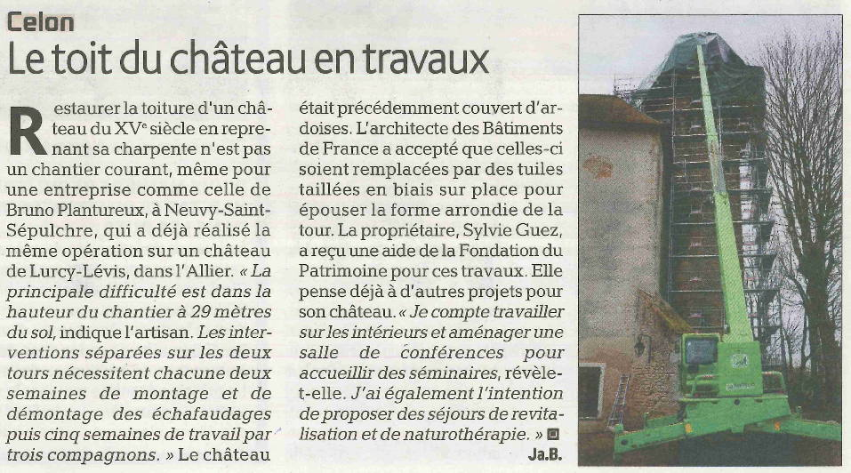Article sur les travaux au Château de Celon paru dans l'Echo du Berry n°3270 du 2 mars 2017 au 8 mars 2017